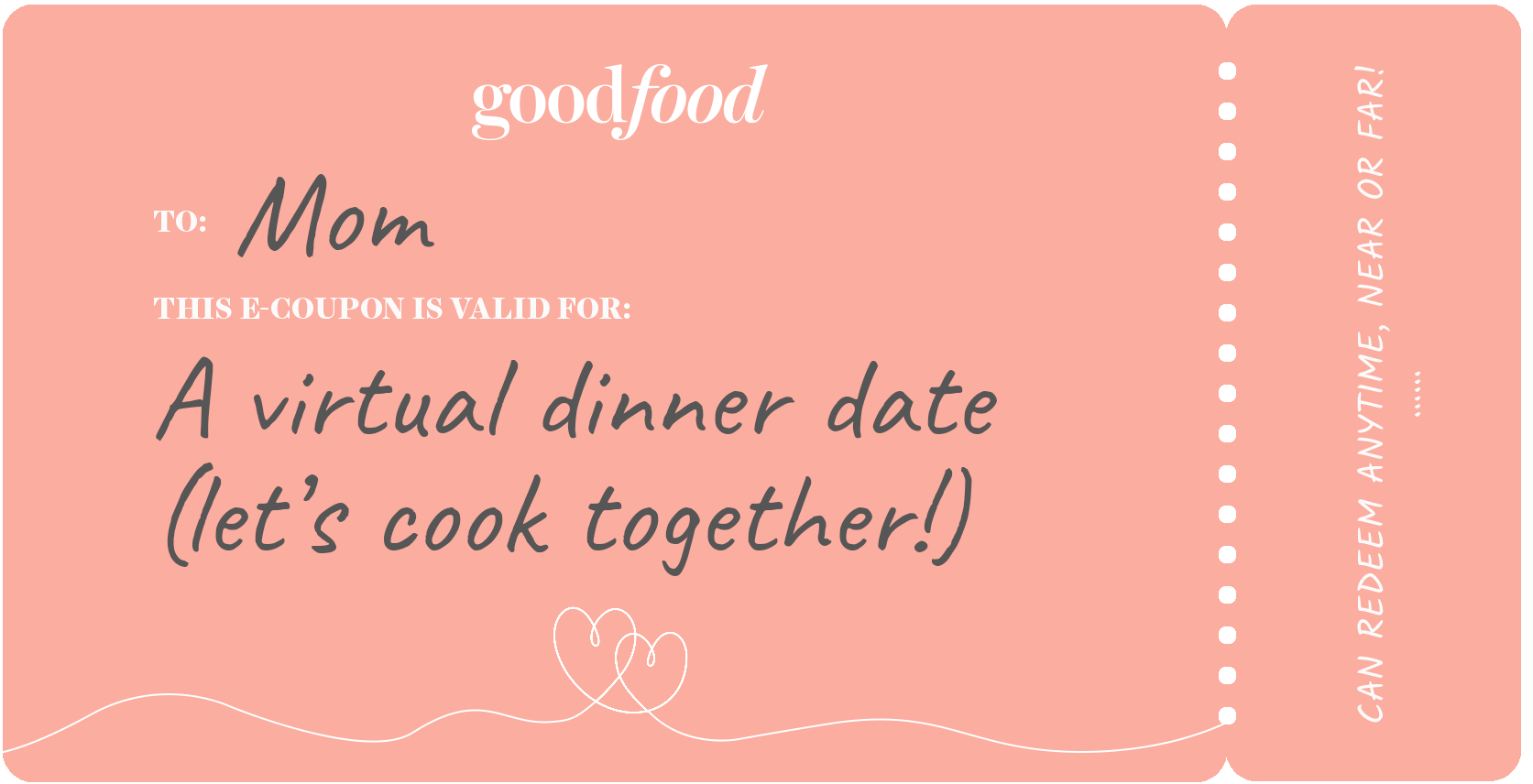 Coupon example, virtual dinner date