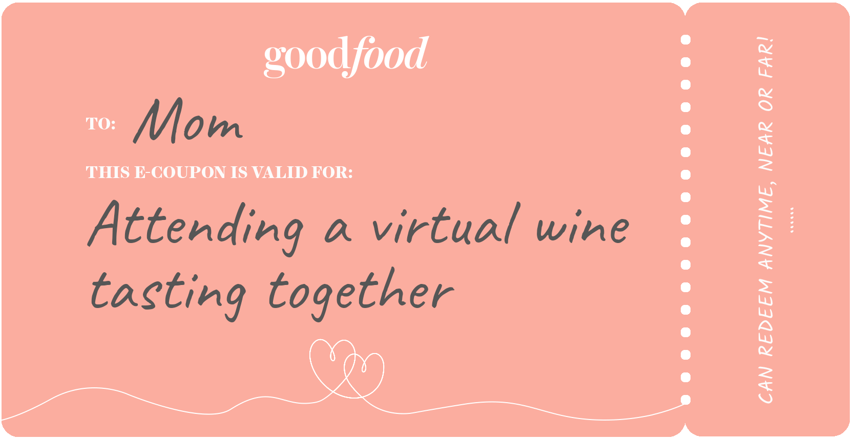 Coupon example, virtual wine tasting