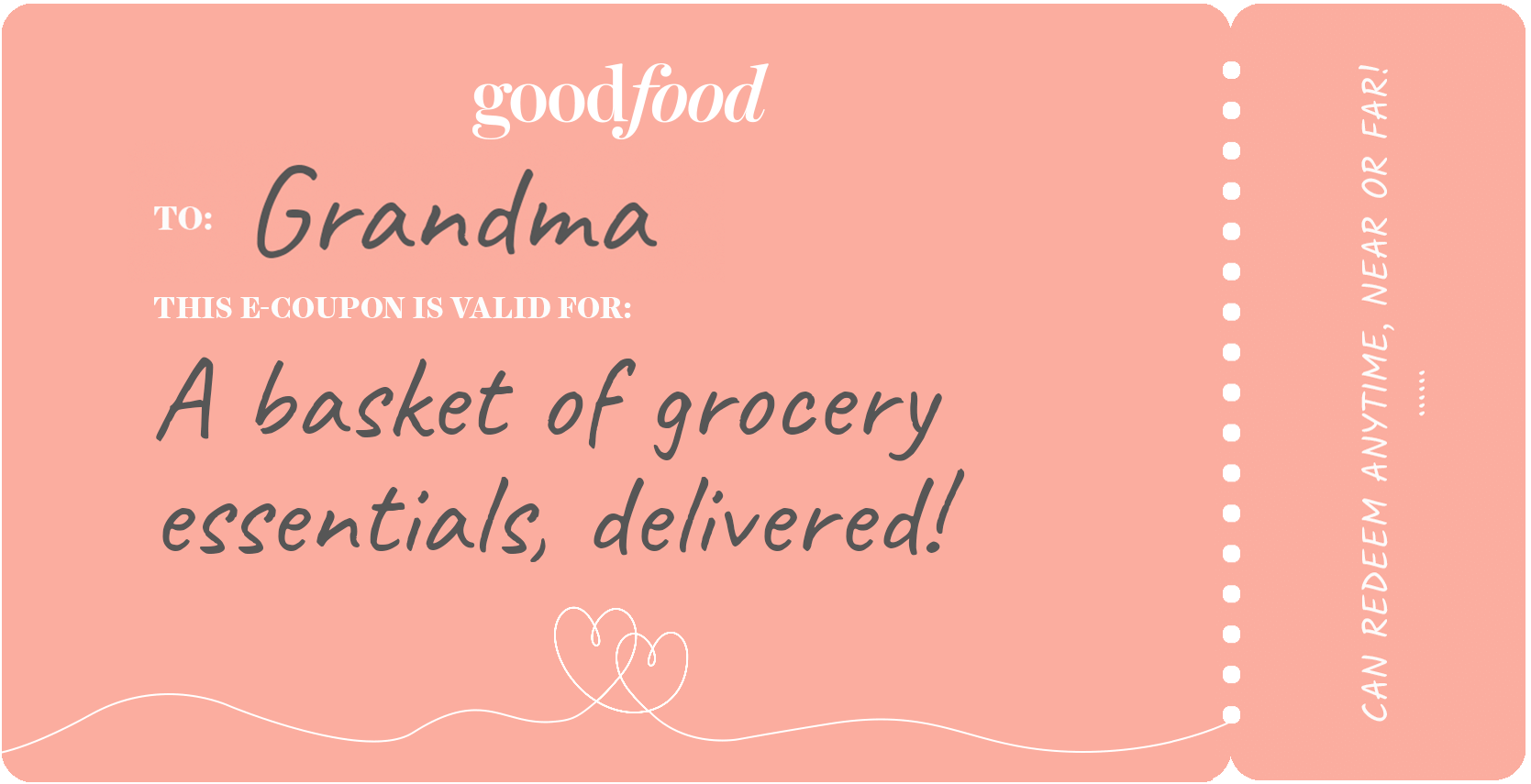 Coupon example, grocery delivery