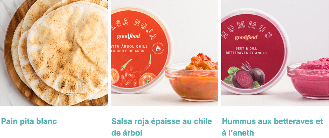 White Pita Bread, Chunky Salsa Roja, Beet and Dill Hummus