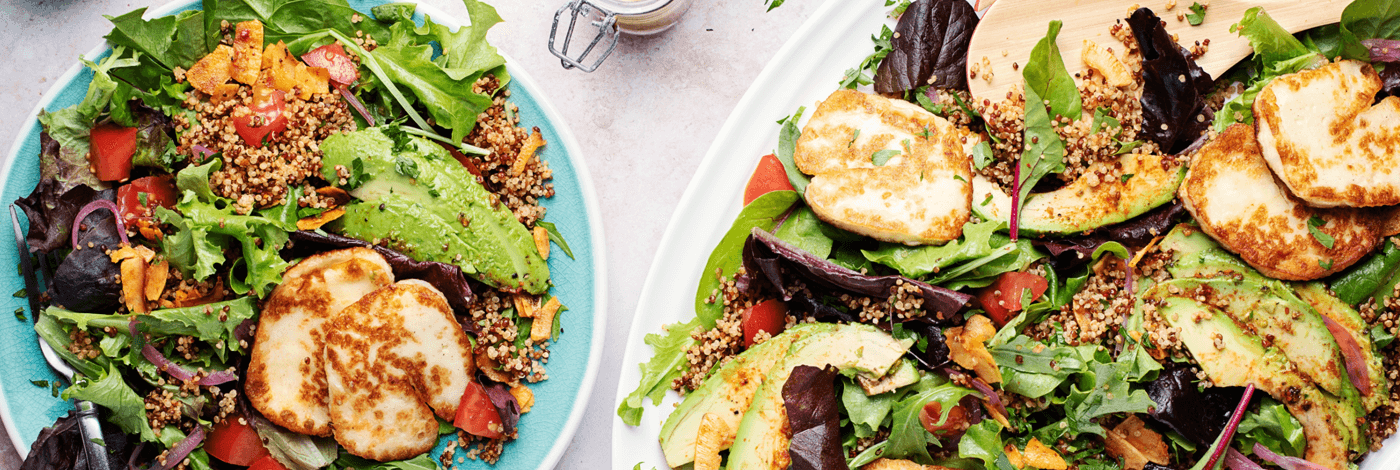 Seared Halloumi and Smoky Coconut 'Bacon' Cobb Salad with Avocado and Quinoa