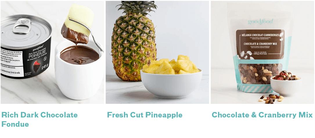 chocolate fondue, fresh pineapple, chocolate cranberry mix