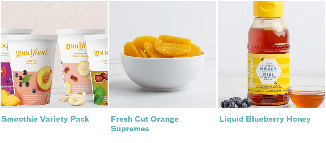 smoothies, fresh orange supremes, blueberry honey