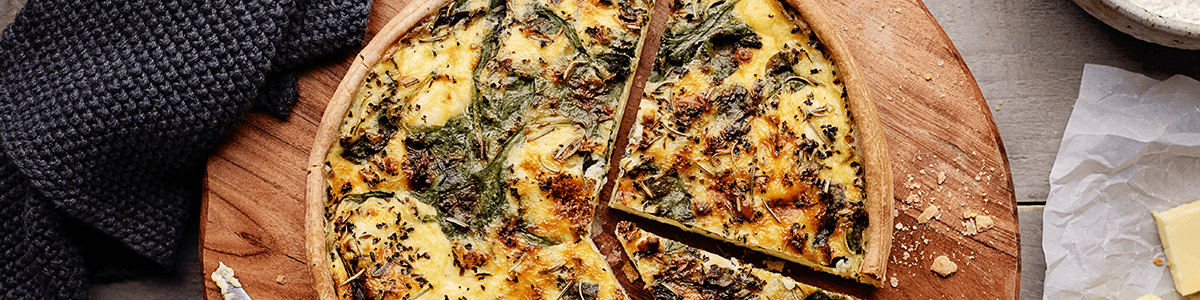 Butter Crusted Spinach Quiche with Goat Cheese