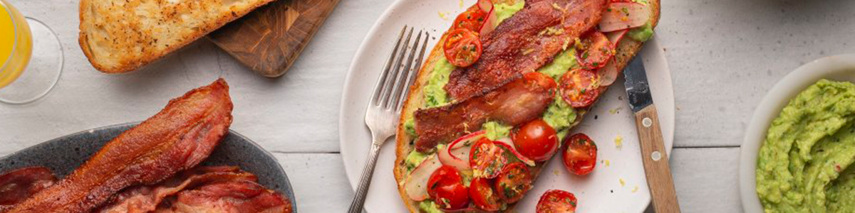 Smashed Avocado Toast with Thick Butcher Cut Bacon
