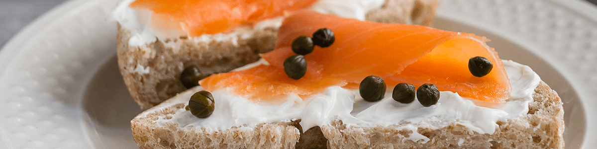 Smoked salmon and labneh bagel