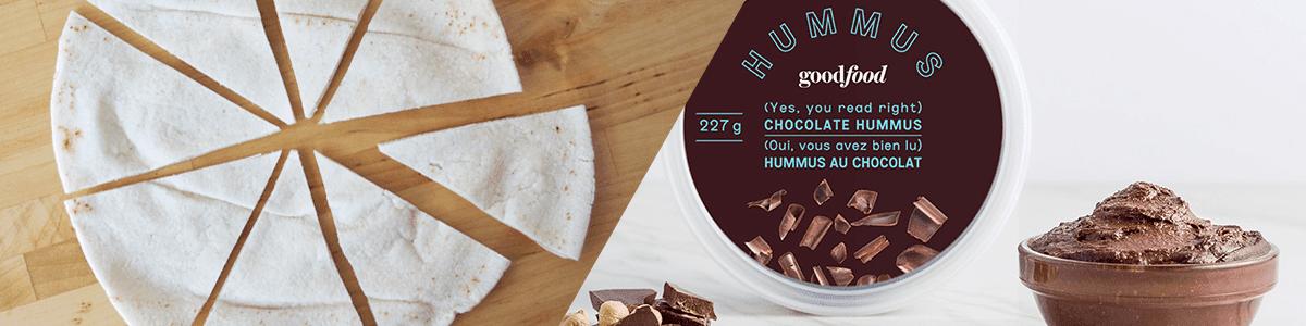 Homemade cinnamon chips and chocolate hummus (an original snack)