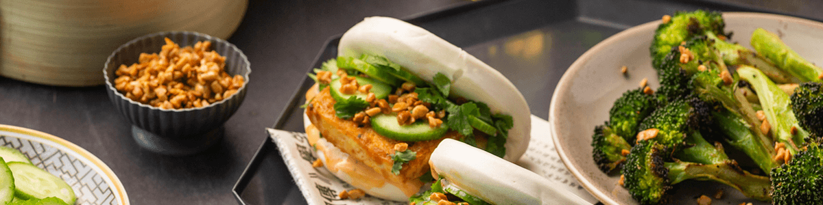 Spicy Peanut Tofu Bao Buns