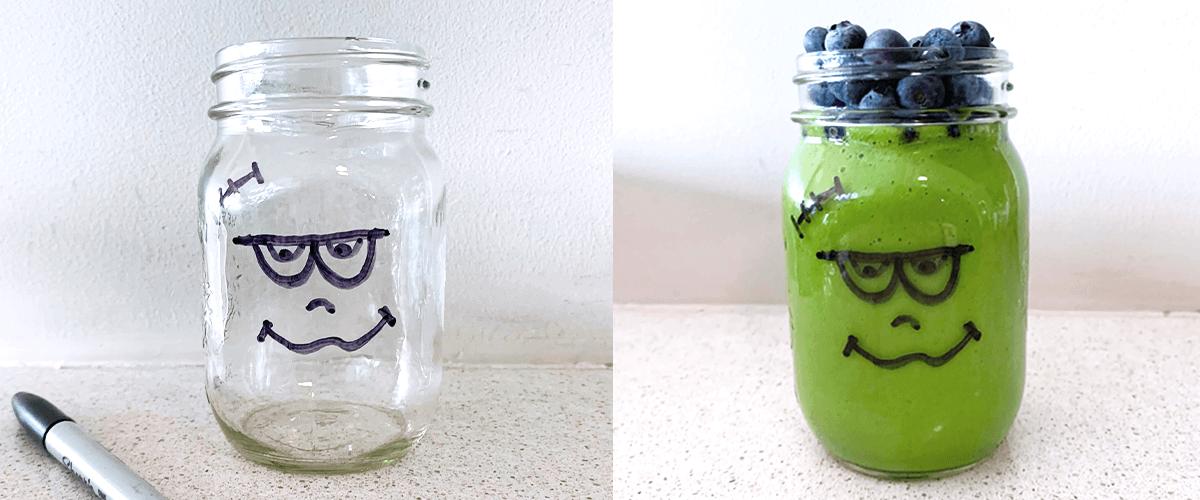 Breuvage Frankenstein pour l'Halloween, réalisé avec un mélange de smoothie vert.