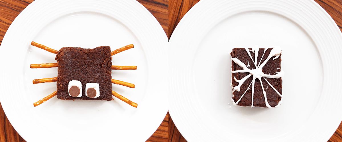 Mini-brownies d'Halloween transformés en araignée ou en toile d'araignée avec du chocolat, des bretzels et des guimauves