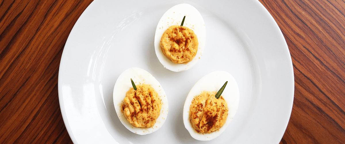 Deviled eggs that look like little pumpkins