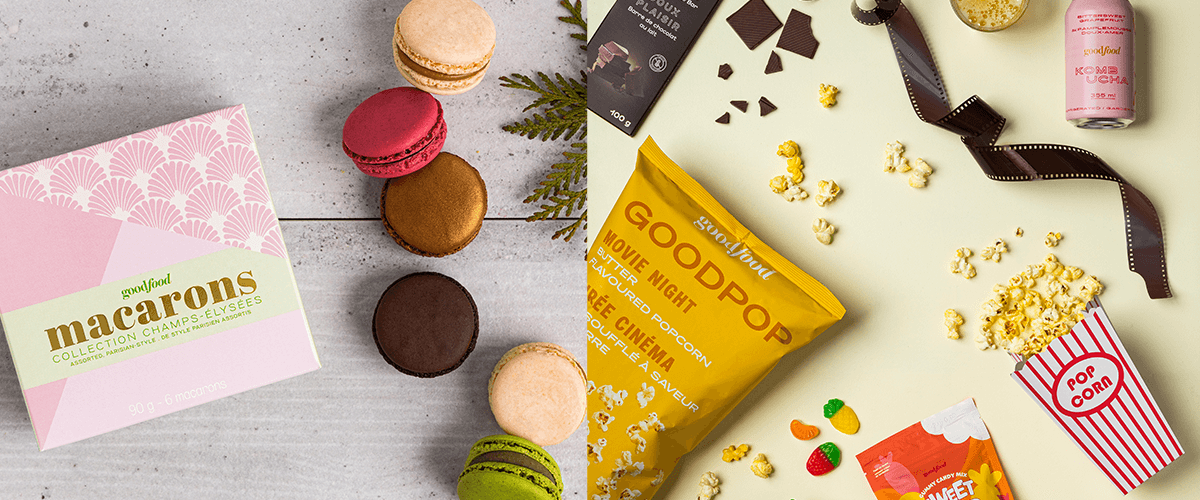 Macarons and Goodfood movie night bundle featuring butter flavoured popcorn, chocolate, and gummy candy