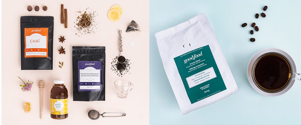 Goodfood gift guide tea bundle on the left featuring teas and honey, and Goodfood coffee on the right with coffee mug