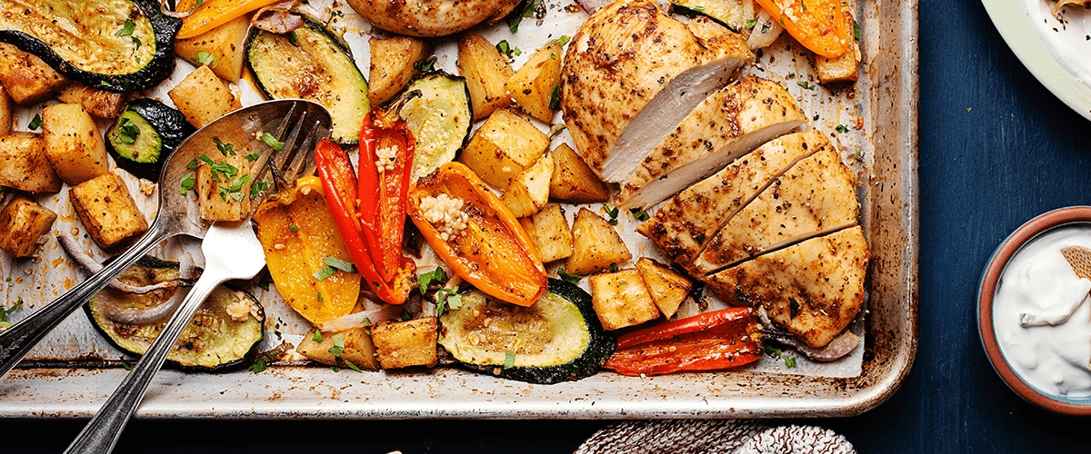 Sheet Pan Mediterranean-Style Chicken with Potatoes, Sweet Peppers & Tzatziki