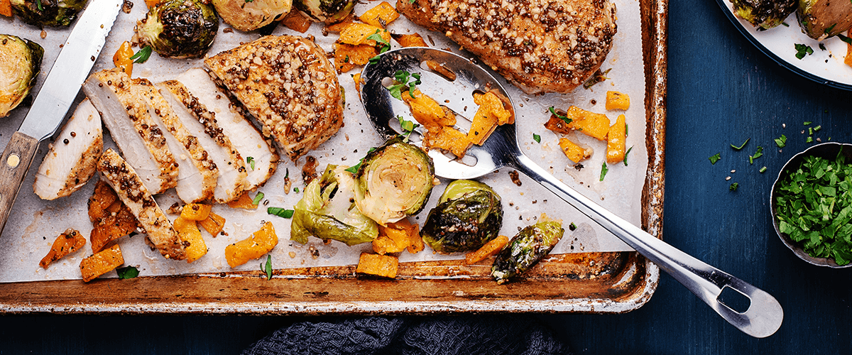 Sheet Pan Maple-Mustard Pork Chops with Roasted Butternut Squash & Brussels Sprouts
