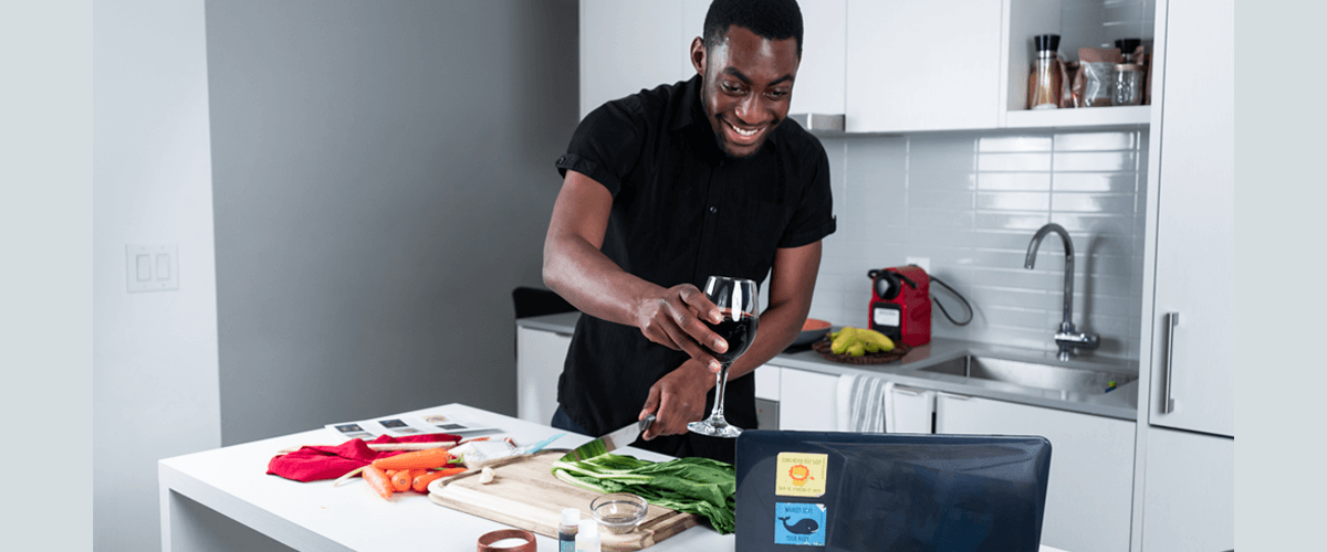 Mike Regis hosting a virtual dinner party at home with Goodfood