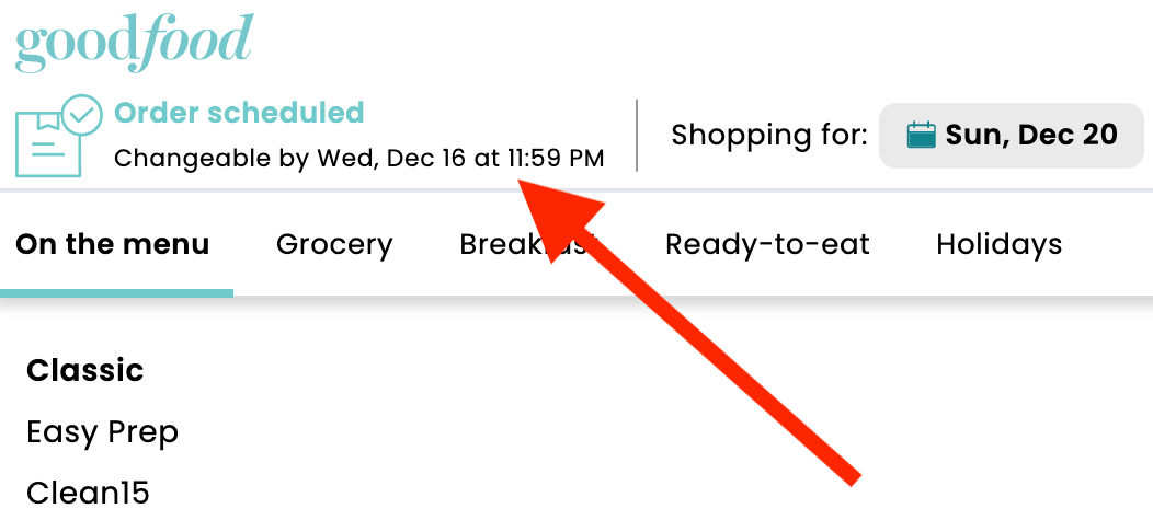 A screenshot of the Goodfood selection page with an arrow pointing out the weekly cut off time
