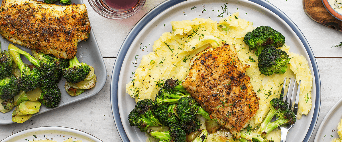 Image of a plate of fish, broccoli, and mashed potatoes