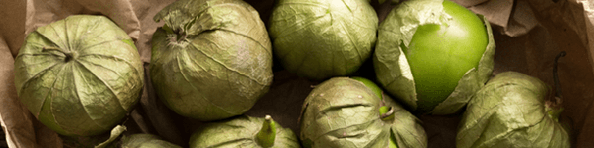 Image of multiple tomatillos, one partially unwrapped