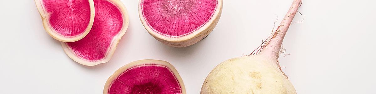 Image of watermelon radish sliced and whole