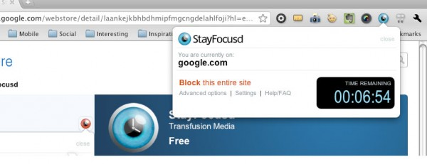 StayFocusd Extension in Chrome example
