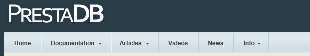 PrestaDB header design example