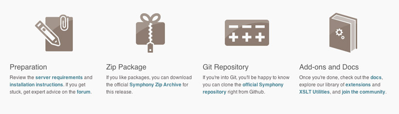 Symphony CMS Download Links