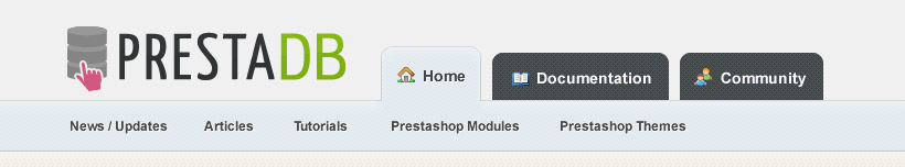 PrestaShop header tabs design