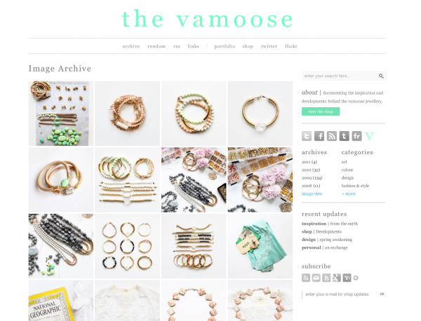 The Vamoose blog archive design