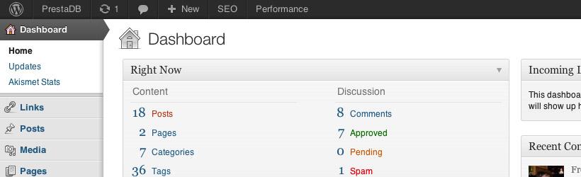 WordPress Admin UI