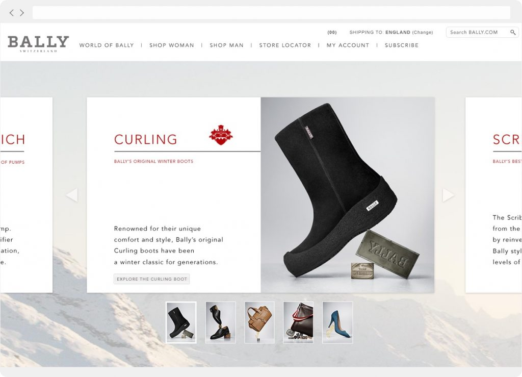 Bally website carousel example