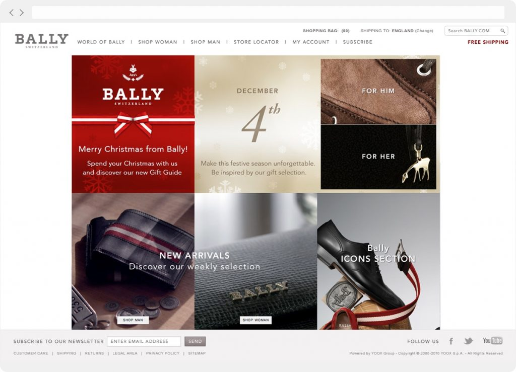Bally website christmas theme