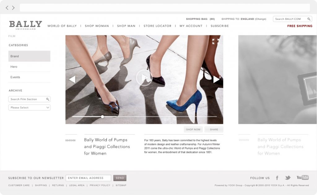 Bally website video carousel example