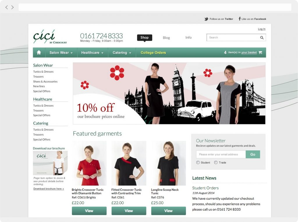 Cordcourt homepage design example