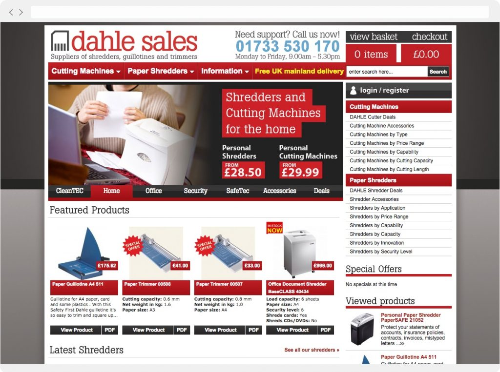 Dahle Sales home page