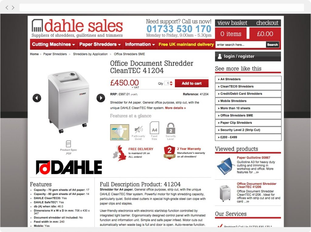 Dahle Sales product detail page