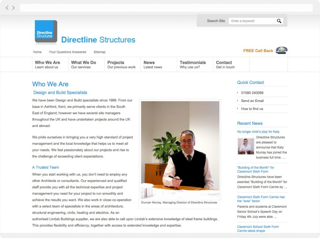 Directline Structures FAQ page