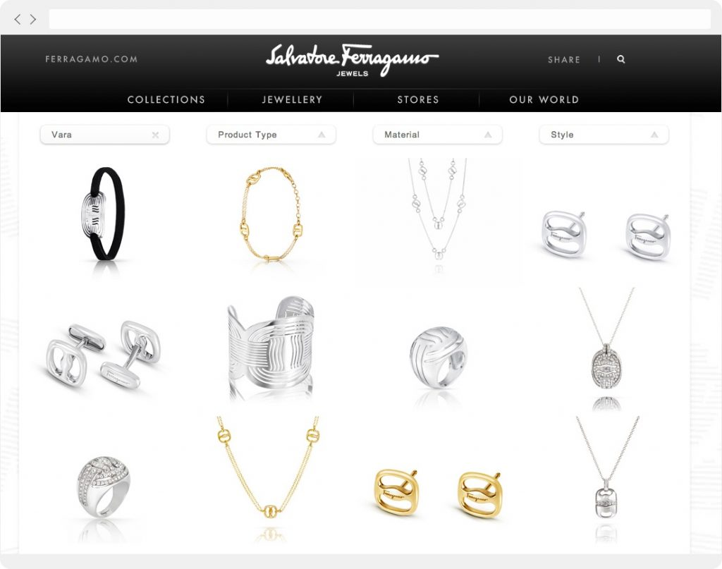 Ferragamo Jewels product page
