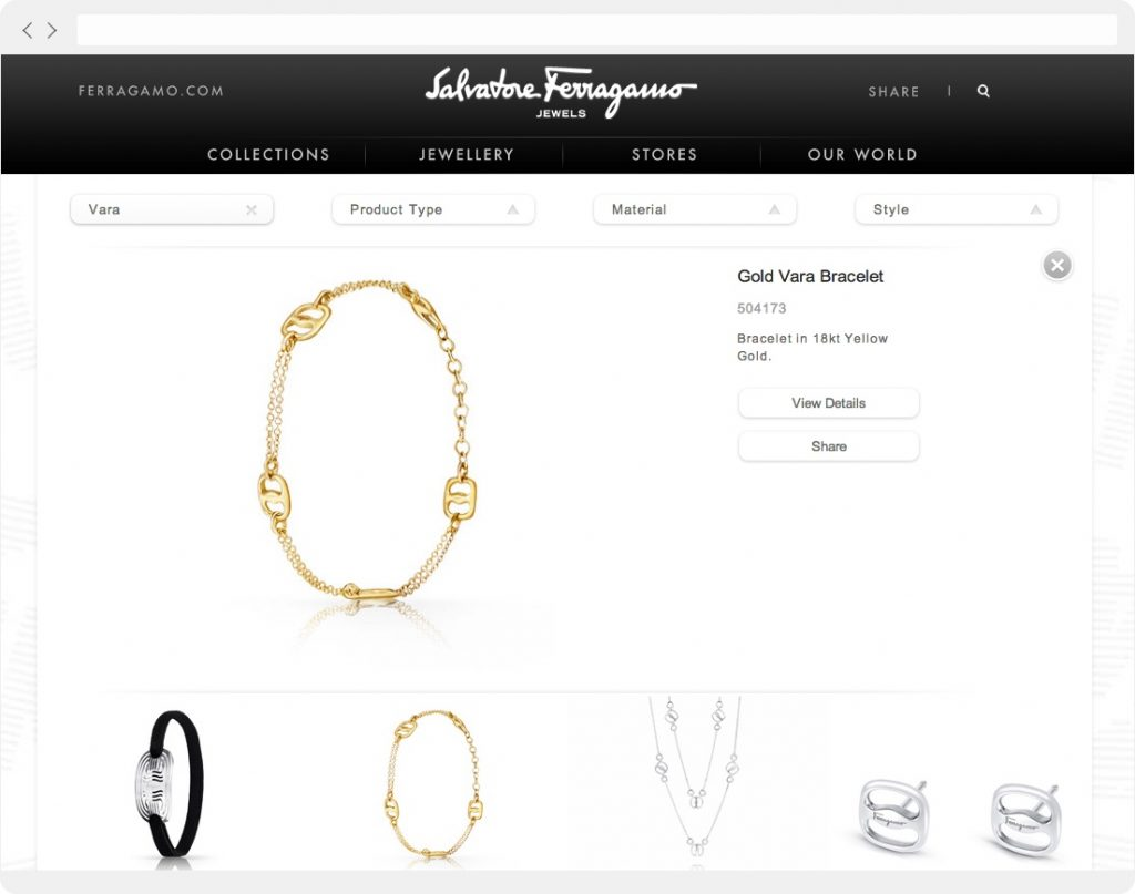 Ferragamo Jewels product detail page