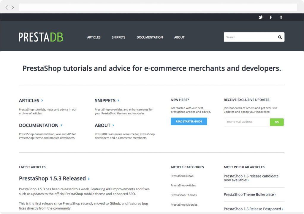 PrestaDB homepage