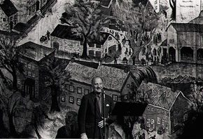 Charles Child in front of the Bucks County Playhouse stage curtain. Photograph by Jack Rosen. James A. Michener Art Museum.