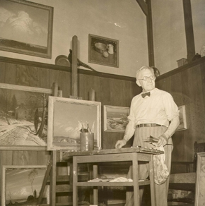 <p>George Sotter in his studio. Image courtesy of the James A. Michener Museum archives.</p>