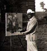 Photograph of Richard Wedderspoon painting in Front Royal, Virginia, 1937. Image courtesy of Reginald J. Birks.