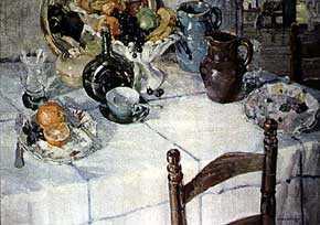Paulette van Roekens (1895-1988), <em>And the Little Brown Jug</em>, 1930. Oil. 30 x 40 inches. Image courtesy of Davis Meltzer.