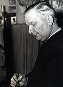 Maynard Clark, <em>Kurt Wiese at work in his studio</em>. James A. Michener Art Museum. Gift of Philip A. and Dianna T. Betsch.