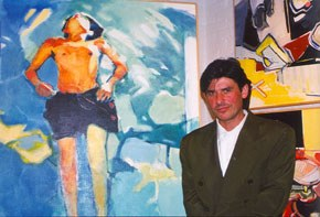 Malcolm Bray next to <em>Boy Floating I</em>, subject of the artists son, 1999. Image courtesy of the artist. James A. Michener Art Museum library.