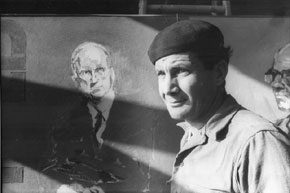 Sterling Spadea with in-progress portrait of James A. Michener, n.d. James A. Michener Art Museum archives.