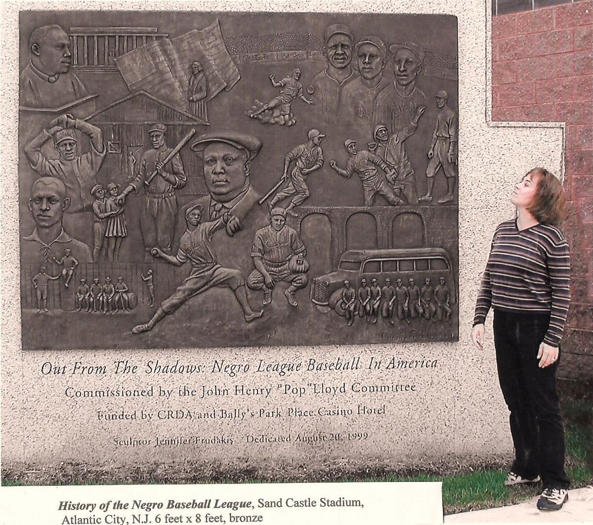 <p>Jennifer Frudakis-Petry with History of Negro Baseball League, 1999. Bronze. 6 x 8 feet. Stockton University Athletic Department, Egg Harbor, NJ. Image courtesy of the artist.</p>