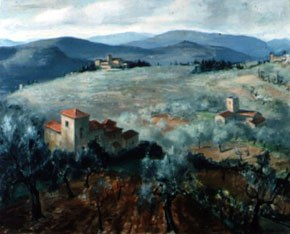 Peter Cook (1915-1992), <em>Tuscan Landscape</em>, n.d. Oil. 32 x 40 inches. Image courtesy of the Newman Galleries.
