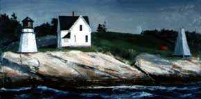 Peter Cook (1915-1992), <em>Mars Island Light Station</em>. Oil. 24 x 48 inches. Image courtesy of the Newman Galleries.